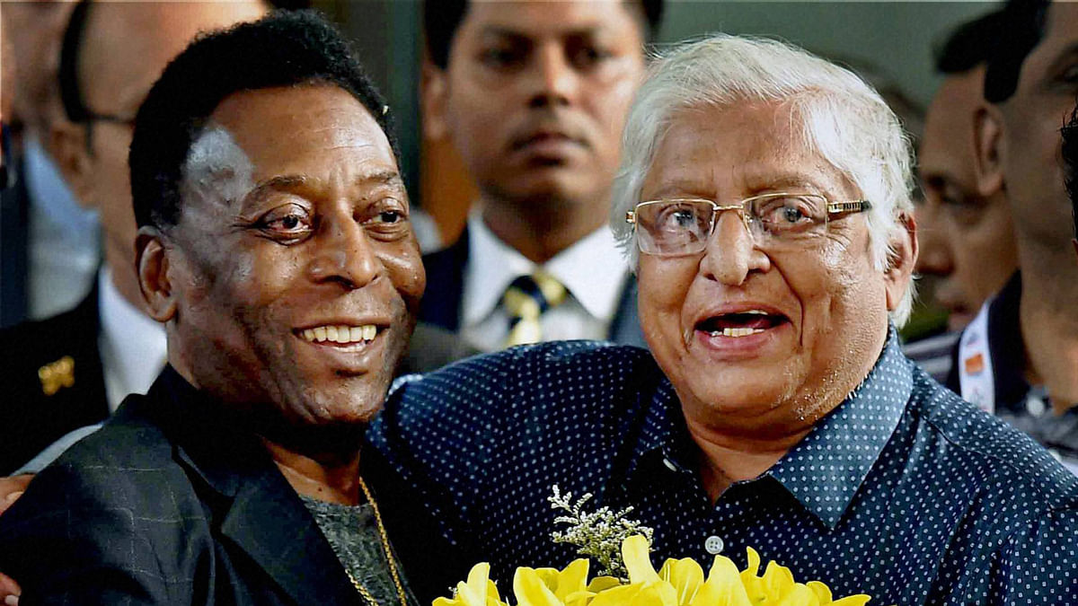 Chuni Goswami with Brazilian soccer legend Pele when the Brazilian travelled to Kolkata some years back.