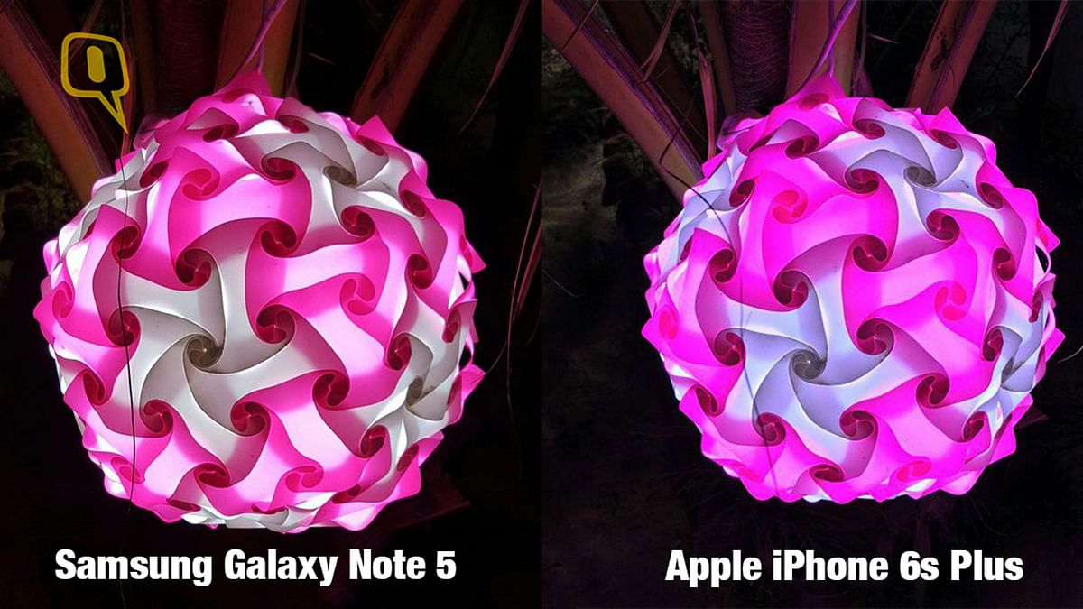 Low light image captured by (right) Apple iPhone 6s Plus and (left) Samsung Galaxy Note 5. (Photo: <b>The Quint</b>)
