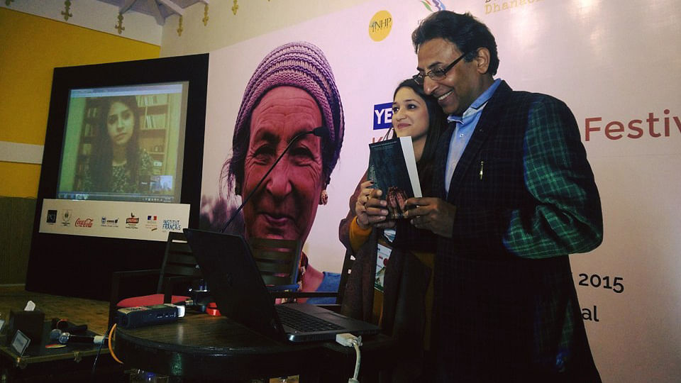 """Kanza Javed launches Ashes, Wine and Dust over Skype at the Kumaon Literary Festival. (Courtesy: Facebook/ <a href=""""https://www.facebook.com/KumaonLitFestival/photos/a.856053584488306.1073741829.745080248918974/933942100032787/?type=3&amp;theater"""">Kumaon Literary Festival</a>)"""