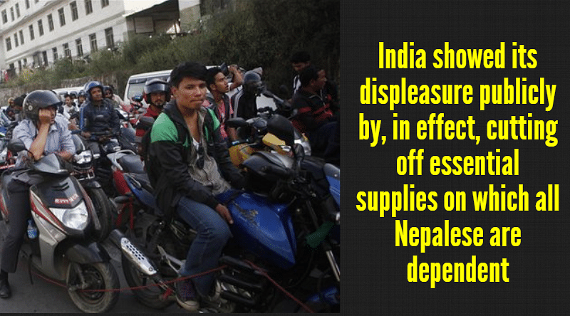 Nepalese motorists wait for their turn to tank up their motorbikes at a fuel station run by the Nepalese army in Kathmandu. (Photo: AP)
