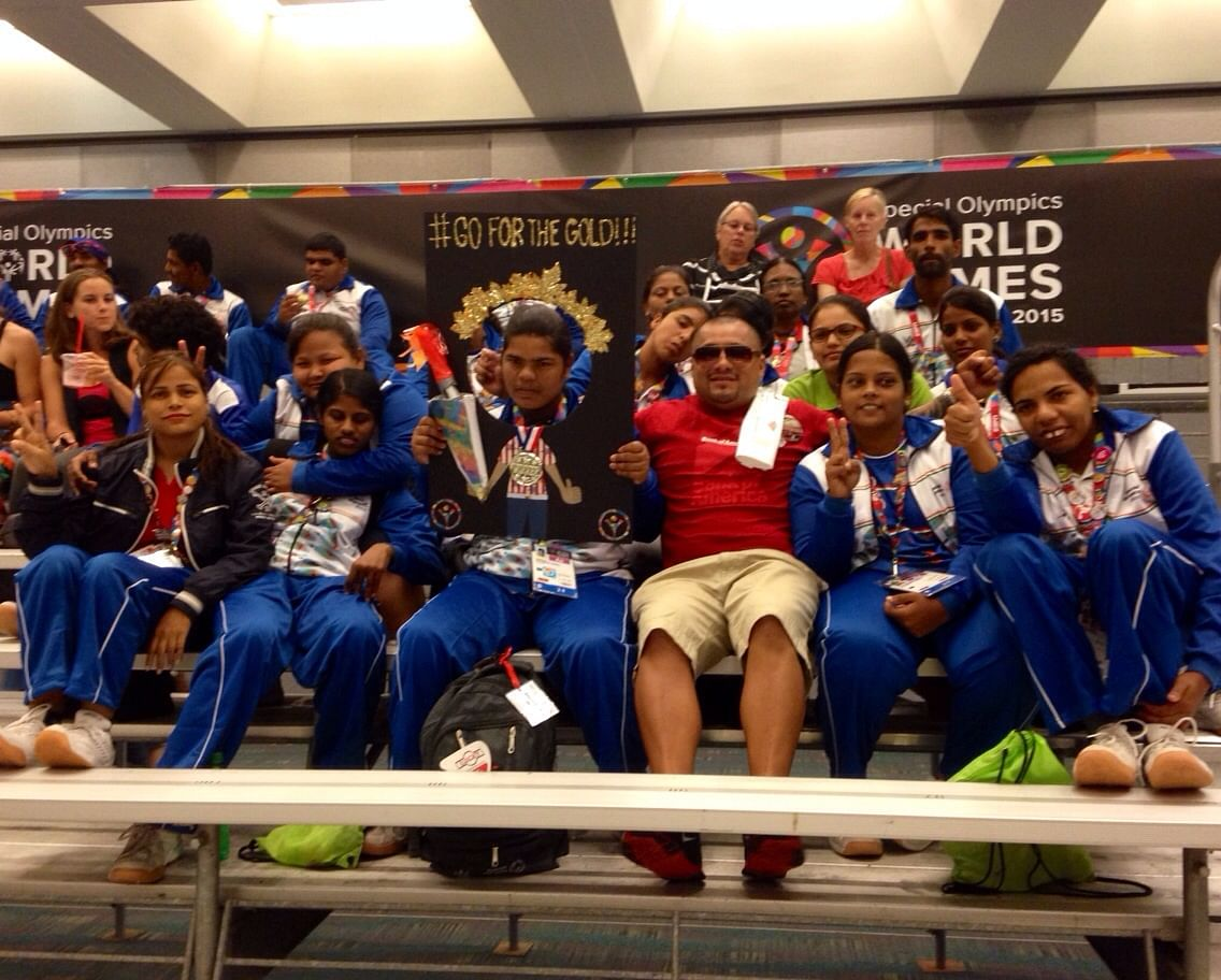 Dolly with the Indian contingent at The Special Olympics World Games, Los Angeles. (Courtesy: Special Olympics Bharat)