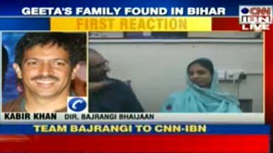 Kabir Khan interacting with Geeta and her caretaker Faisal Edhi on CNN-IBN. (Courtesy: CNN-IBN)