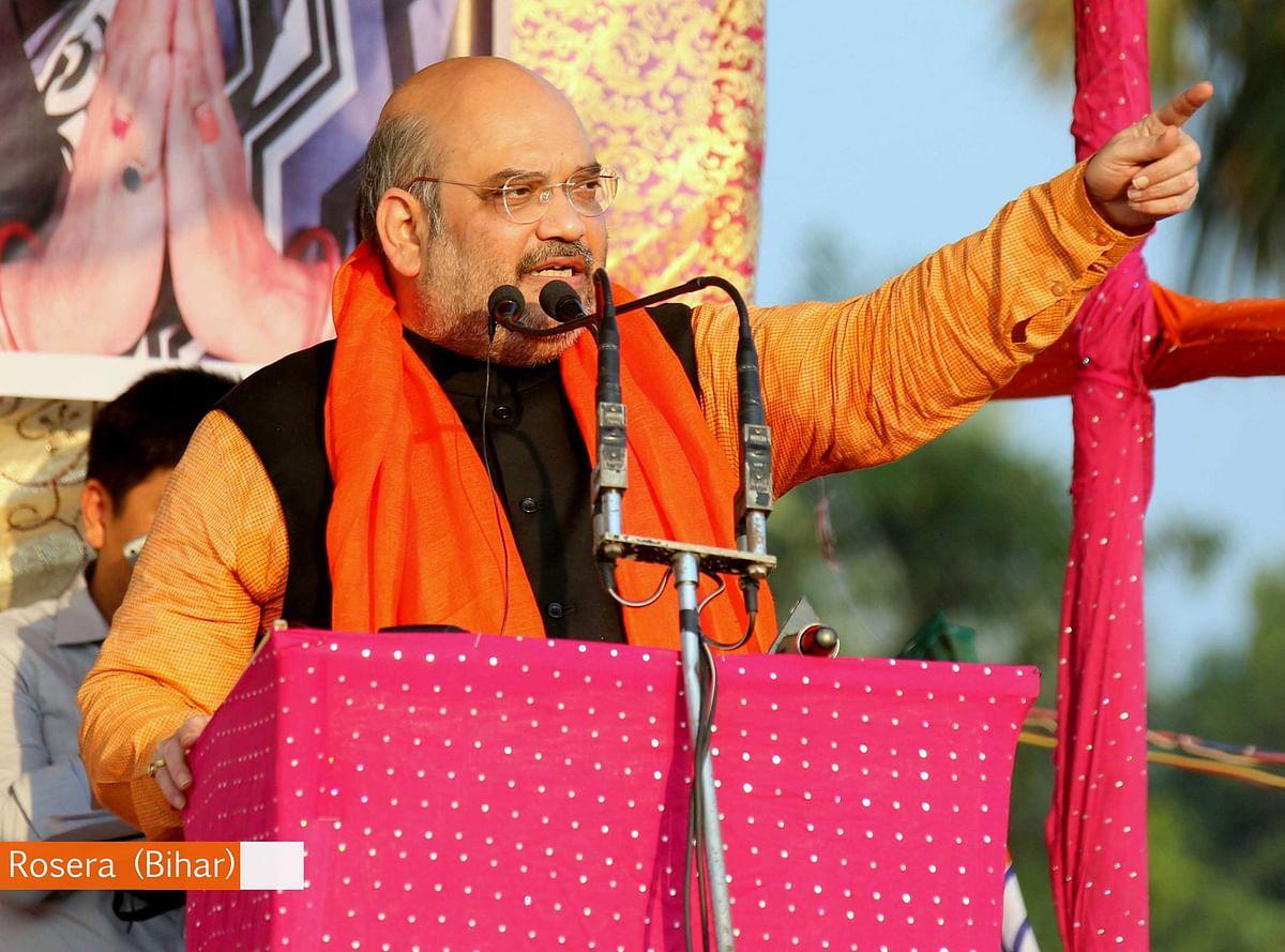 "BJP President Amit Shah during a rally in Bihar. (Photo: <a href=""https://www.facebook.com/BJP4India/photos/pb.121439954563203.-2207520000.1445217255./1065798173460705/?type=3&amp;theater"">Facebook.com/BharatiyaJanataParty</a>)"
