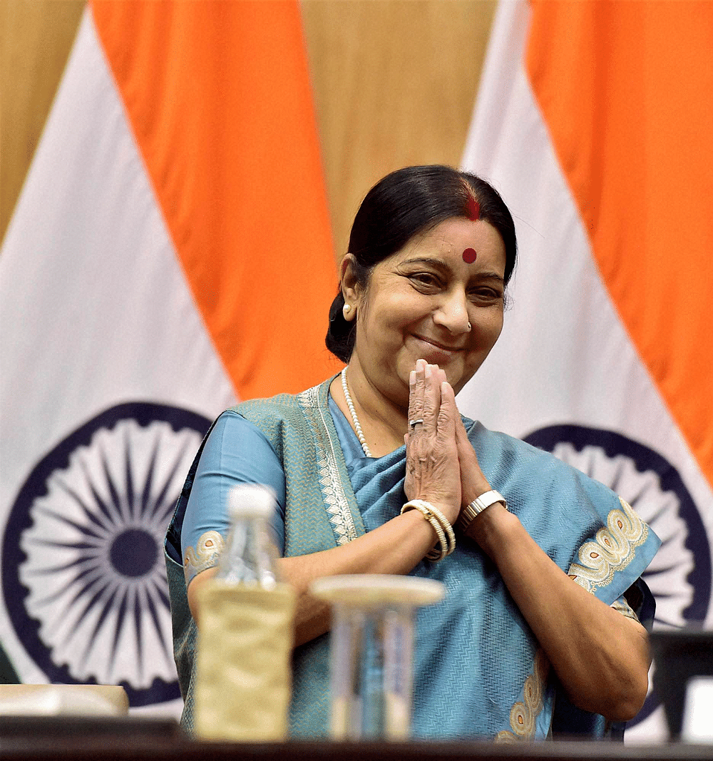 The onus is now on Sushma Swaraj to identify appropriate areas with her Russian interlocutors and draw up a visionary and pioneering roadmap. (Photo: PTI)