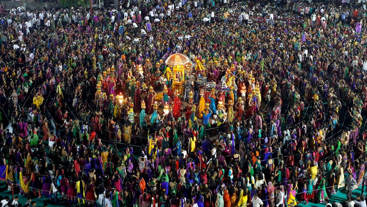 File image of garba during the celebrations to mark the Navratri festival in Gujarat.