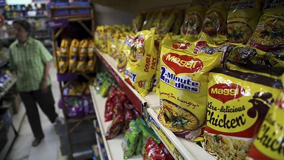 Maggi packets displayed on the shelves. (Photo: PTI)
