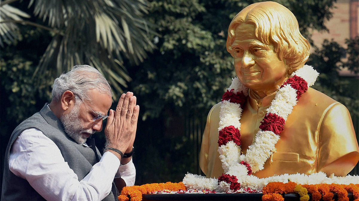 File picture: Prime Minister Narendra Modi paid tribute to Late Dr APJ Abdul Kalam on his 84th birth anniversary.