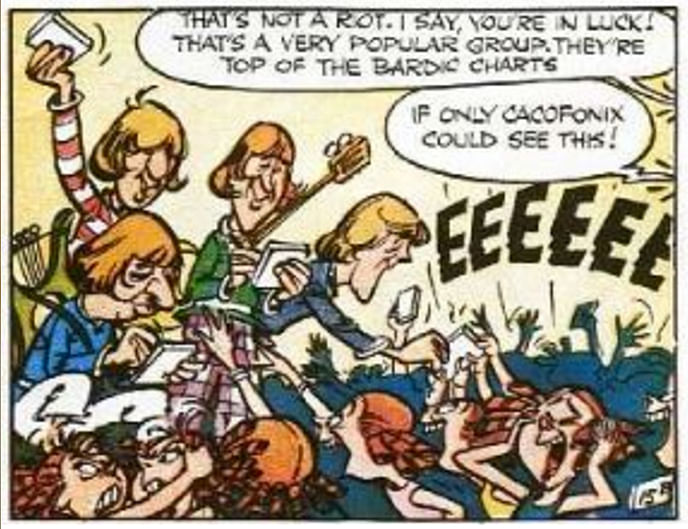 "The Beatles as the Four Blonde Mopheads (Courtesy: <a href=""http://www.everythingasterix.com/news-and-views-content/2015/3/4/the-24-best-cameos-in-asterix-part-1"">www.everythingasterix.com</a>)"