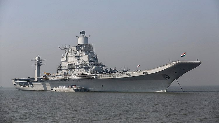 INS Vikramaditya, Indian Navy's aircraft carrier, seen anchored in the Arabian sea as part of Navy Day celebrations off the coast of Mumbai. (Photo: Reuters)