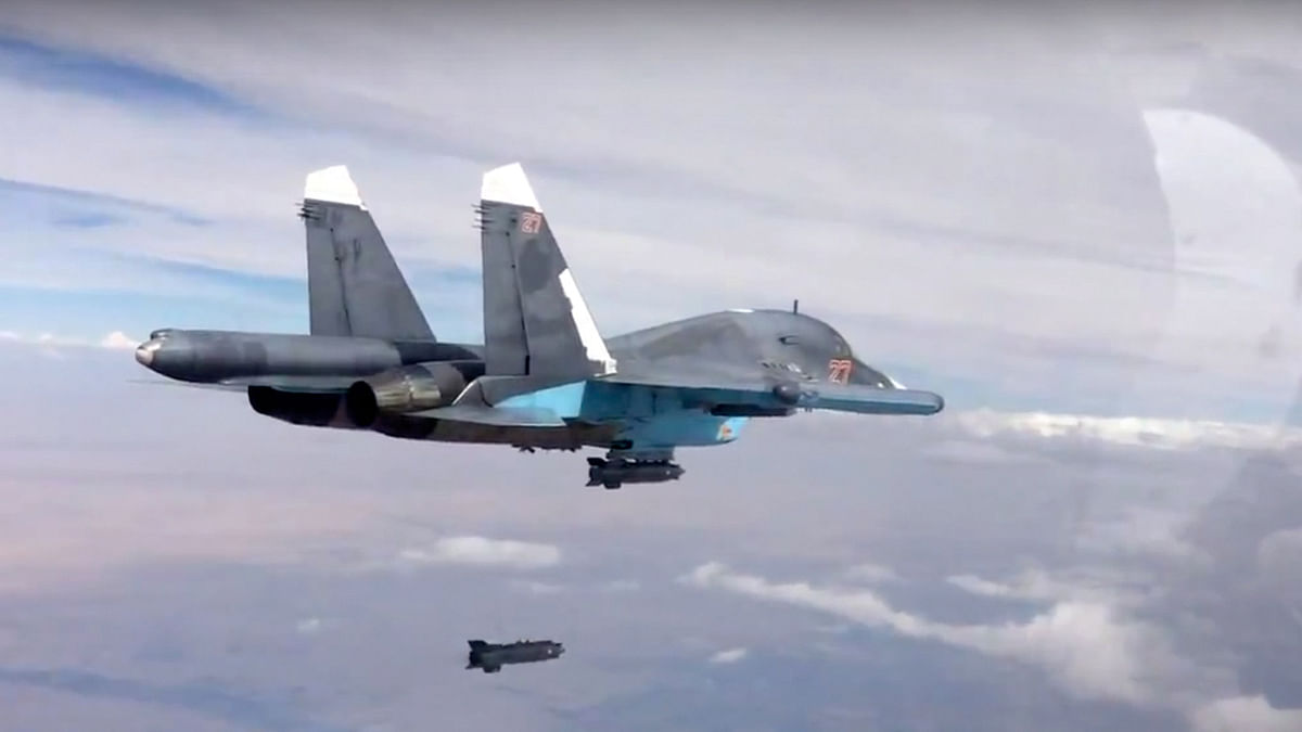In this file photo made from the footage taken from Russian defence ministry official website on Friday, October 9, 2015, a bomb is released from Russian Su-34 strike fighter in Syria. (Photo: AP)