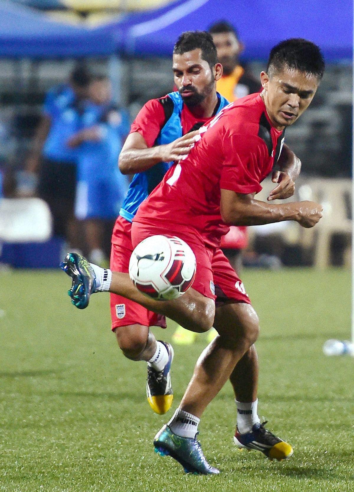 Sunil Chhetri during a training session. (Photo: PTI)