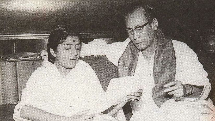 Lata Mangeshkar and SD Burman creating magic together.