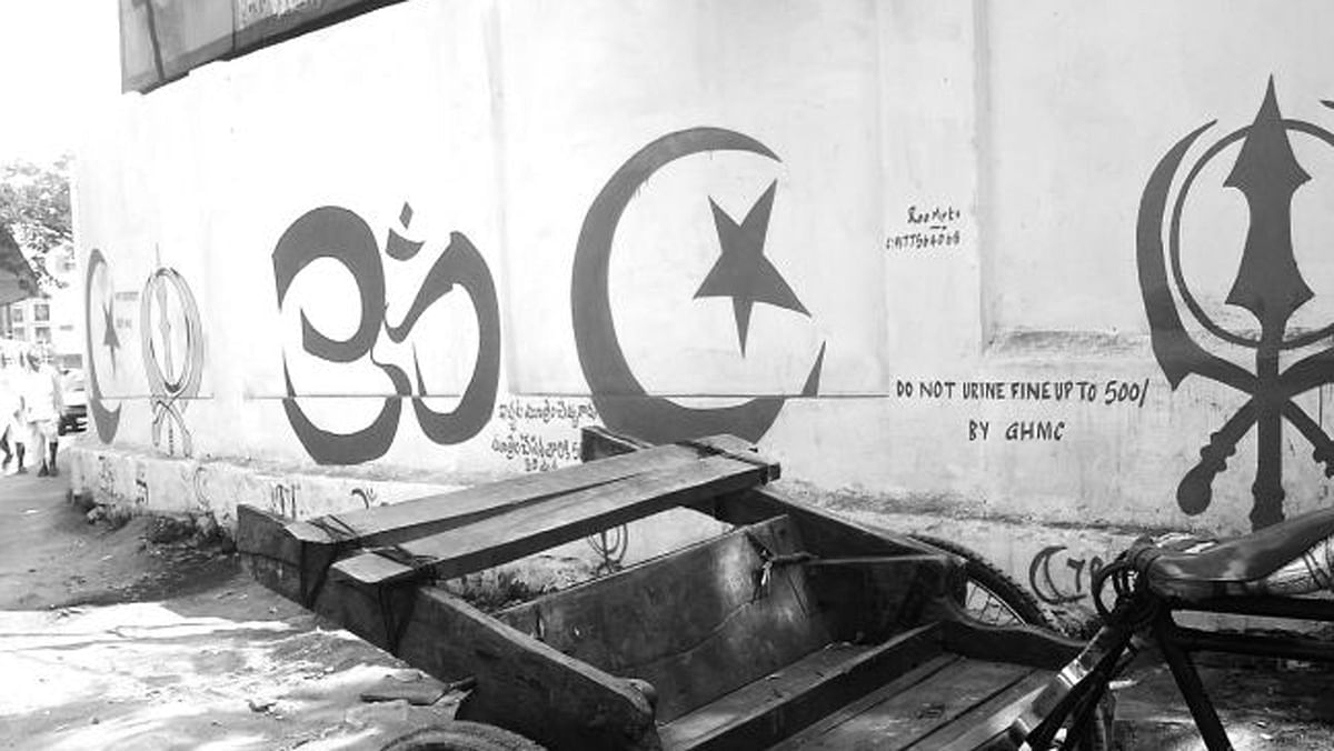 Rythu Bazaar in Hyderabad has been painted with religious symbols. (Photo Courtesy: The News Minute)