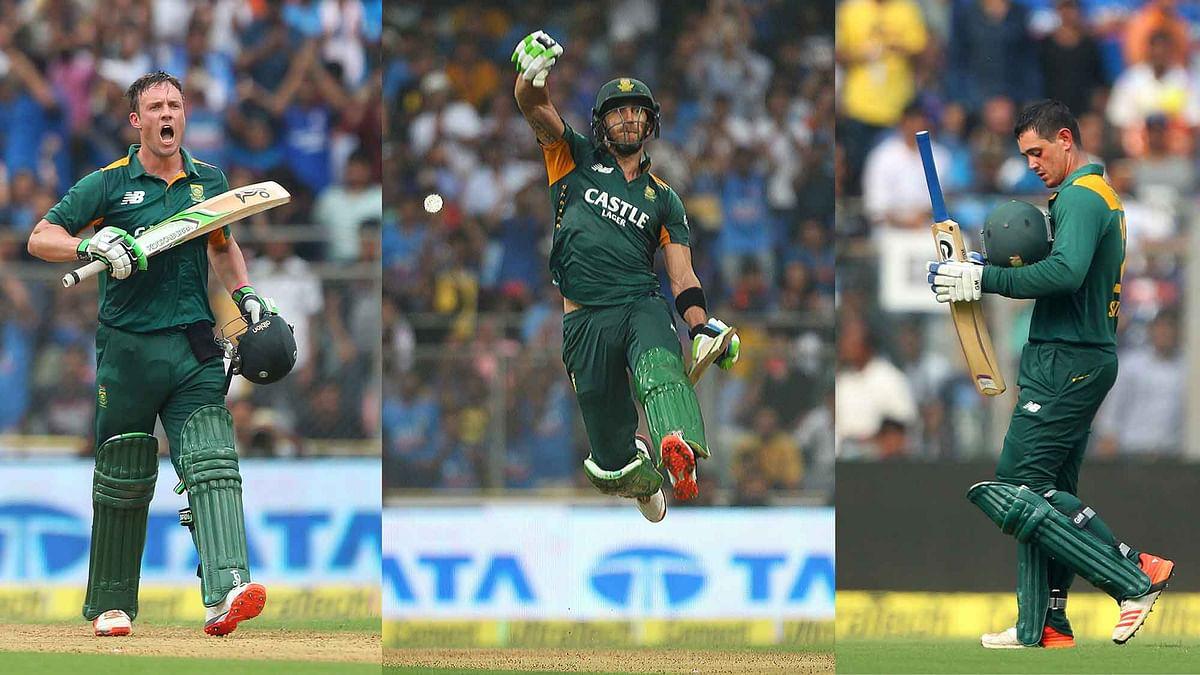 AB de Villiers, Faf du Plessis and Quinton de Kock all scored centuries for South Africa in the Mumbai ODI (Photo: Ron Gaunt/ BCCI/ Sportzpics)
