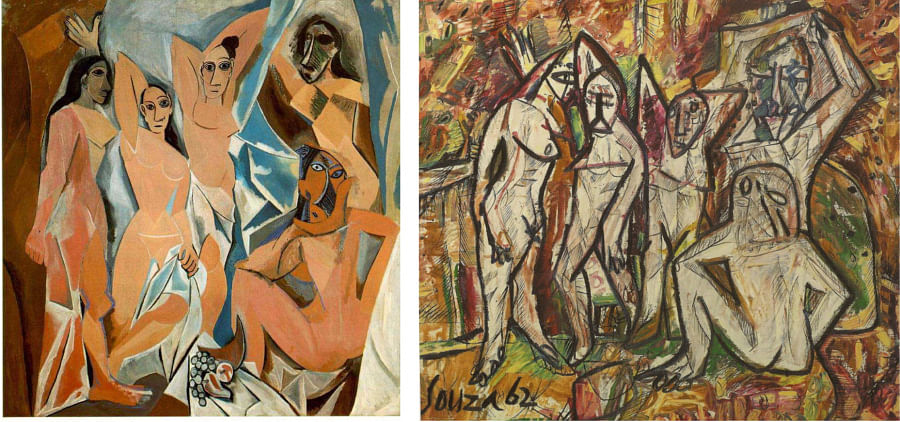 Similar, not same: Les Demoiselles D'Avingnon by Picasso; and Young Ladies in Belsize Park by Francis Newton Souza