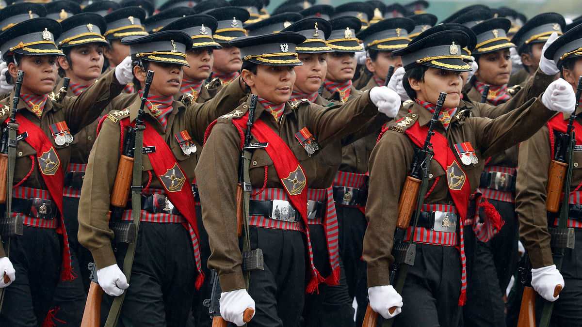 An all female military contingent marches in the Republic Day parade in New Delhi. Image used for representational purposes.