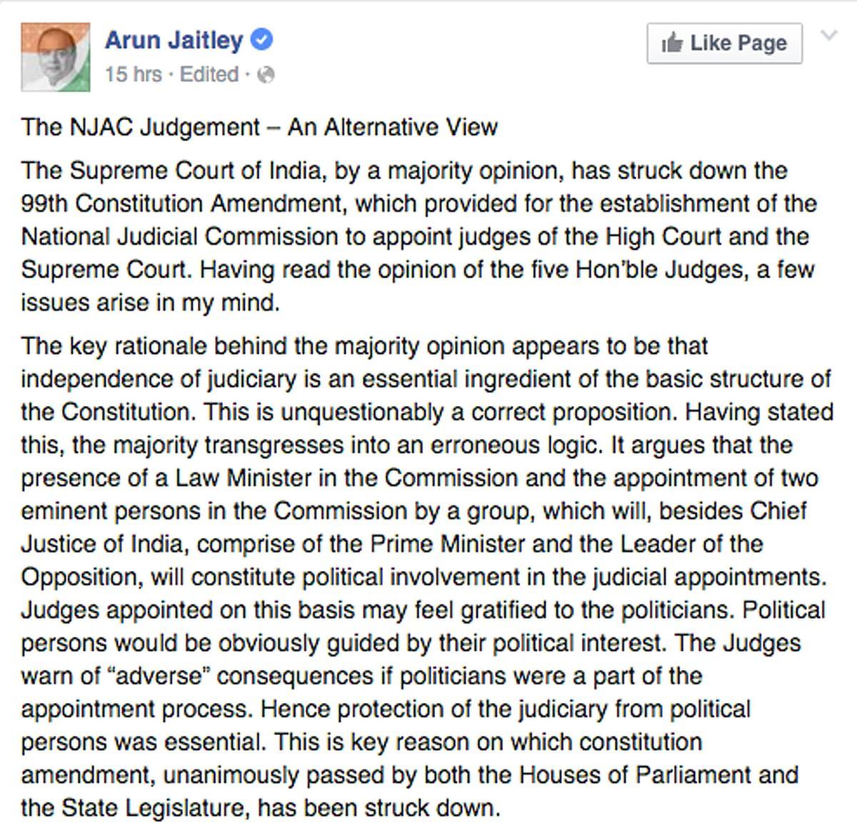 "(Photo: <a href=""https://www.facebook.com/ArunJaitley/posts/418492815005939"">Arun Jaitley's Facebook Post</a>)"