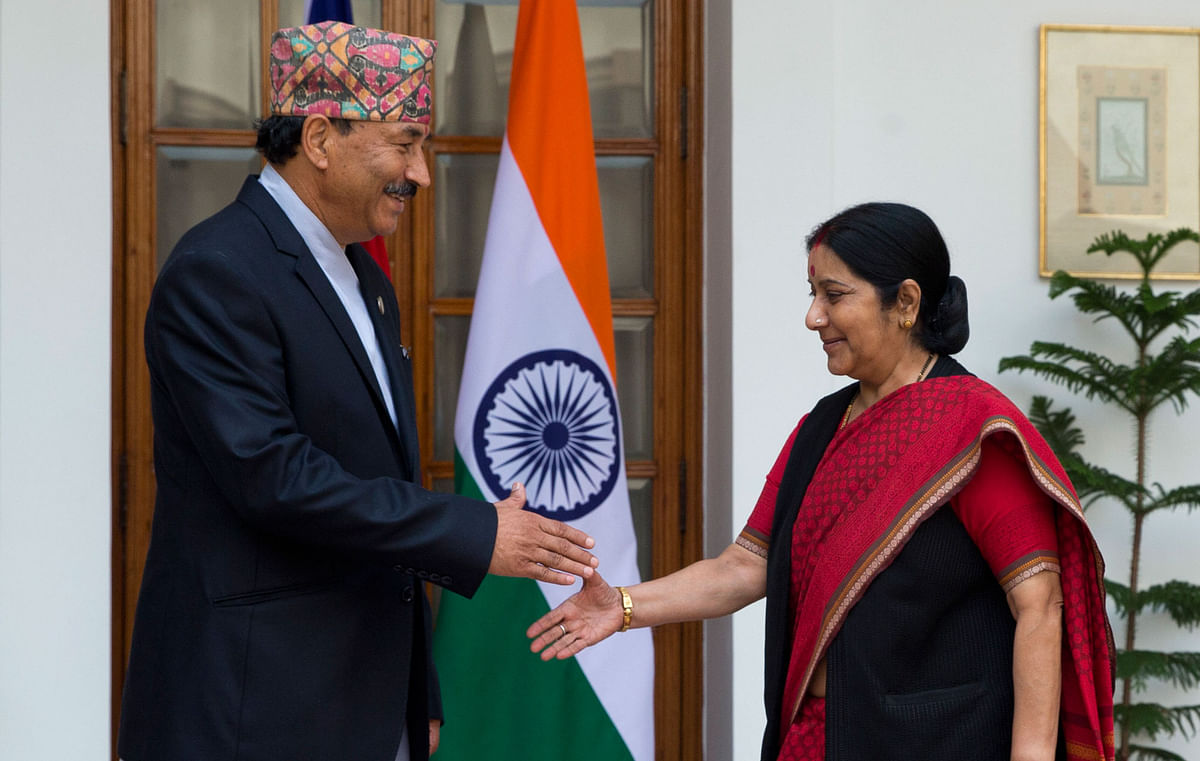 Deputy PM of Nepal, Kamal Thapa with External Affairs Minister Sushma Swaraj on October 18. (Photo: AP)