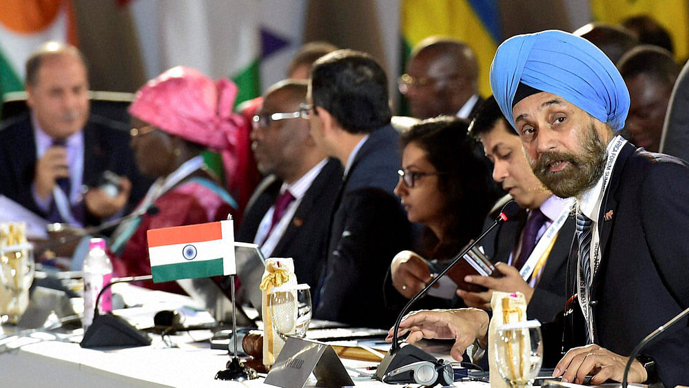 Navtej Singh Sarna (right) Secretary (West) in MEA addresses senior officials at third India Africa Forum Summit in New Delhi on Monday. (Photo: PTI)