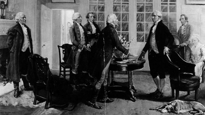 Founding fathers of the US Constitution sign the Declaration of Independence. (Photo: iStockphoto)