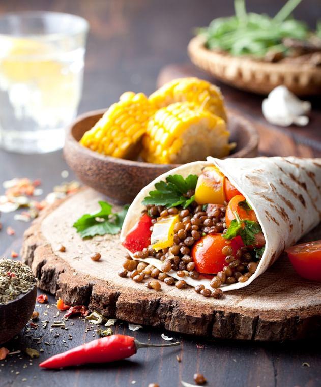 Burritos make for an interesting vegan meal.