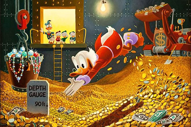 Uncle Scrooge loves to spend some quality time with his gold everyday