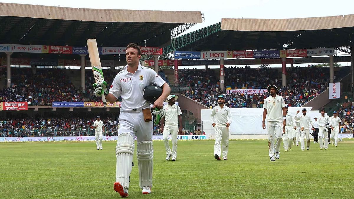 AB de Villiers was the highest scorer in the South African innings. (Photo: Ron Gaunt / BCCI / SPORTZPICS)