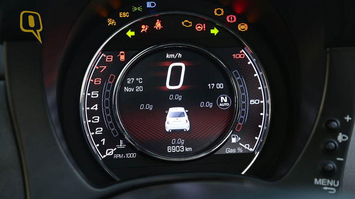 The TFT instrument panel on Fiat Abarth 595 Competizione feed the driver more information than he/she would require. . (Photo: <b>The Quint/Siddharth Safaya</b>)