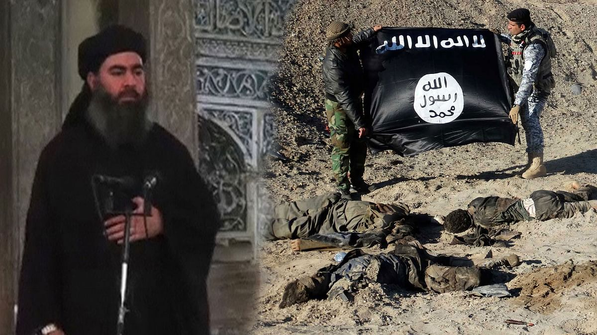 Abu Bakr al-Baghdadi, the chief of Islamic State delivering a sermon. (Photo altered by The Quint)