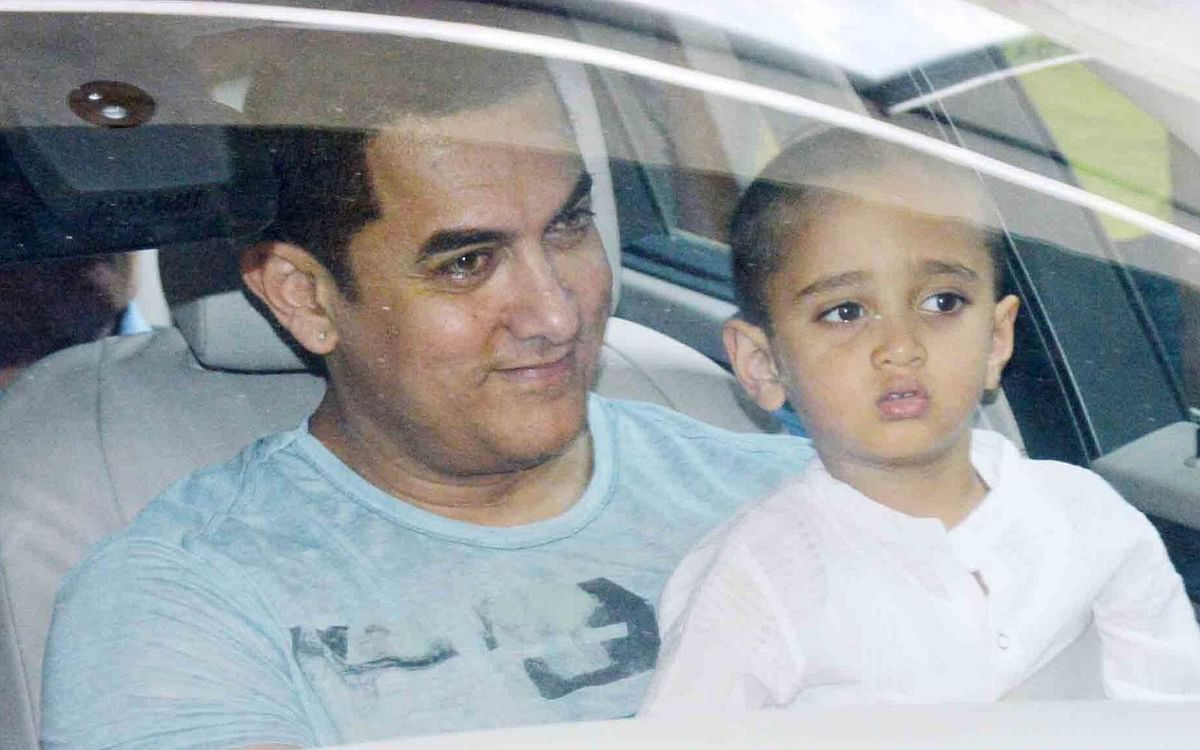 Aamir was seen leaving with son Azad for his surprise birthday bash organised by wife Kiran Rao