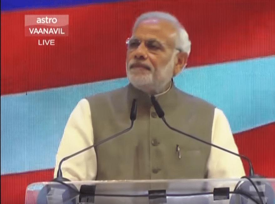 Prime Minister Narendra Modi addressing an Indian community programme in Malaysia. (Photo: narendramodi.in)
