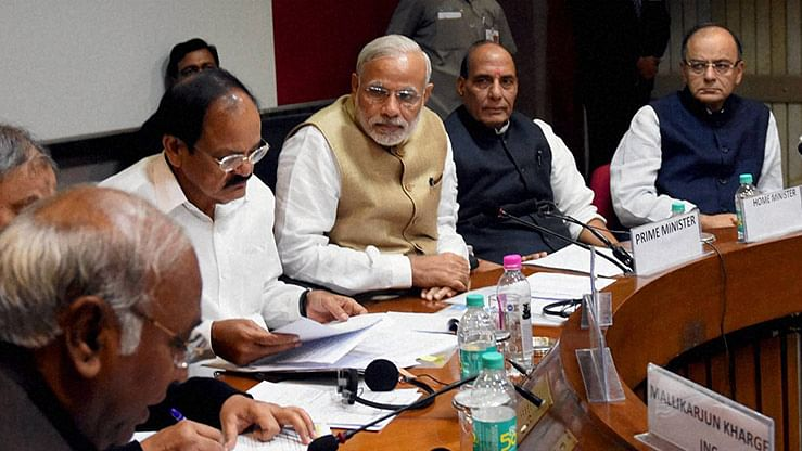 Prime Minister Narendra Modi, Home Minister Rajnath Singh, Union Finance Minister Arun Jaitley, Parliamentary Affairs Minister M Venkaiah Naidu at a meeting a day before the Parliament's winter session at the Parliament House, New Delhi. (Photo: PTI)
