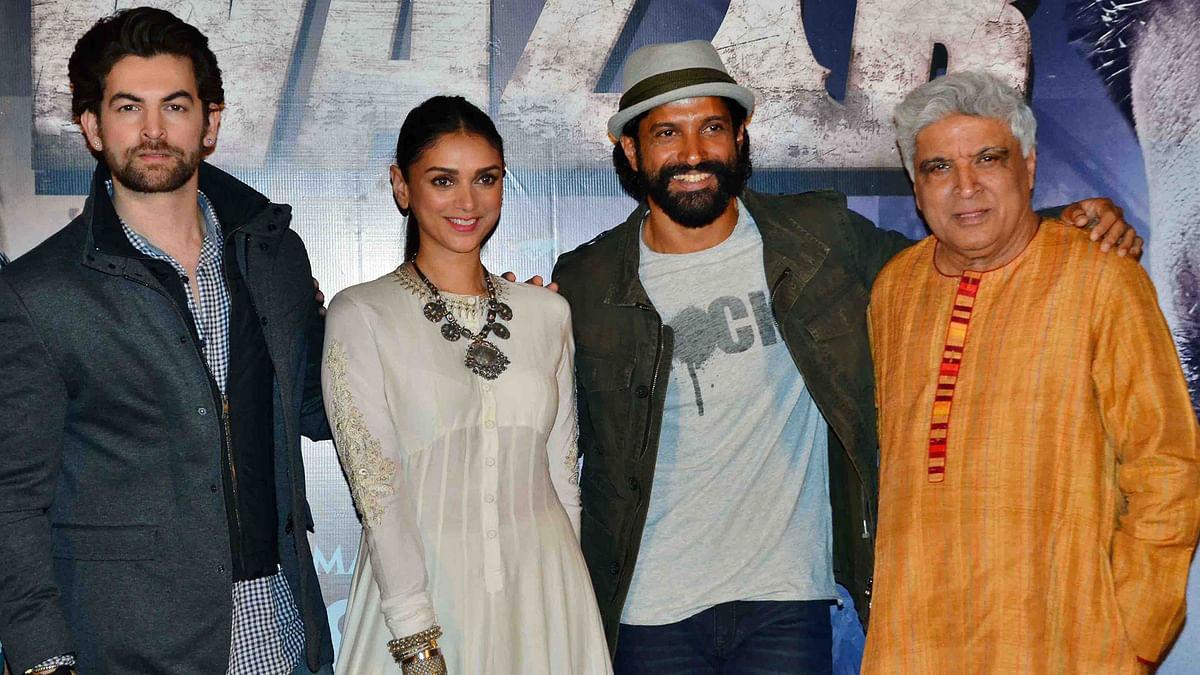 Neil Nitin Mukesh, Aditi Rao Hydari, Farhan Akhtar and Javed Akhtar at the launch of <i>Wazir's </i>trailer (Photo: Yogen Shah)