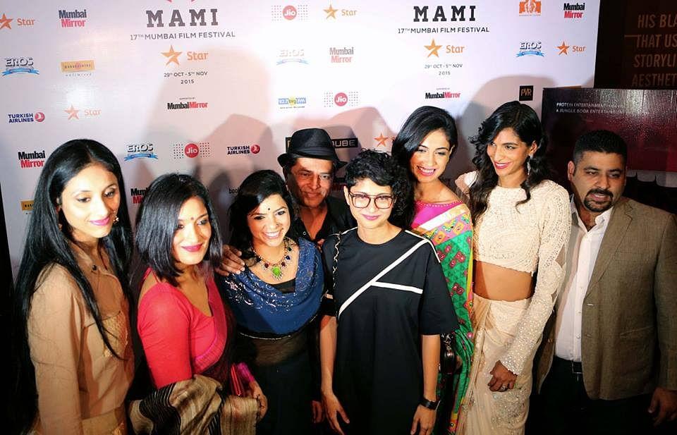 Pan Nalin with Kiran Rao and the team of <i>Angry Indian Goddesses </i>at the MAMI festival in Mumbai (Photo courtesy: Facebook/AIGtheFilm)