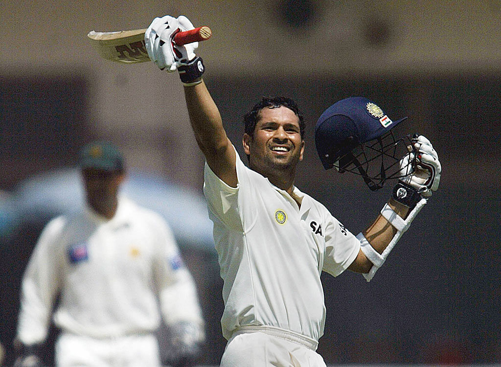Sachin Tendulkar is jubilant after scoring another hundred. (Photo: Reuters)
