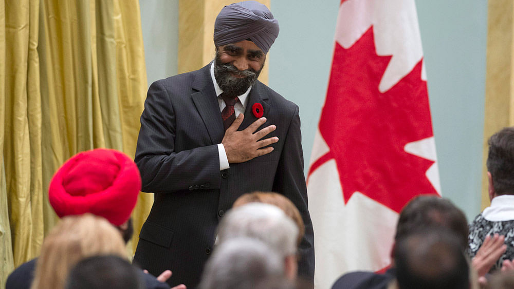 Defence Minister Harjit Singh Sajjan, after being sworn in during the ceremony at Rideau Hall in Ottawa on November 4, 2015. (Photo: AP)