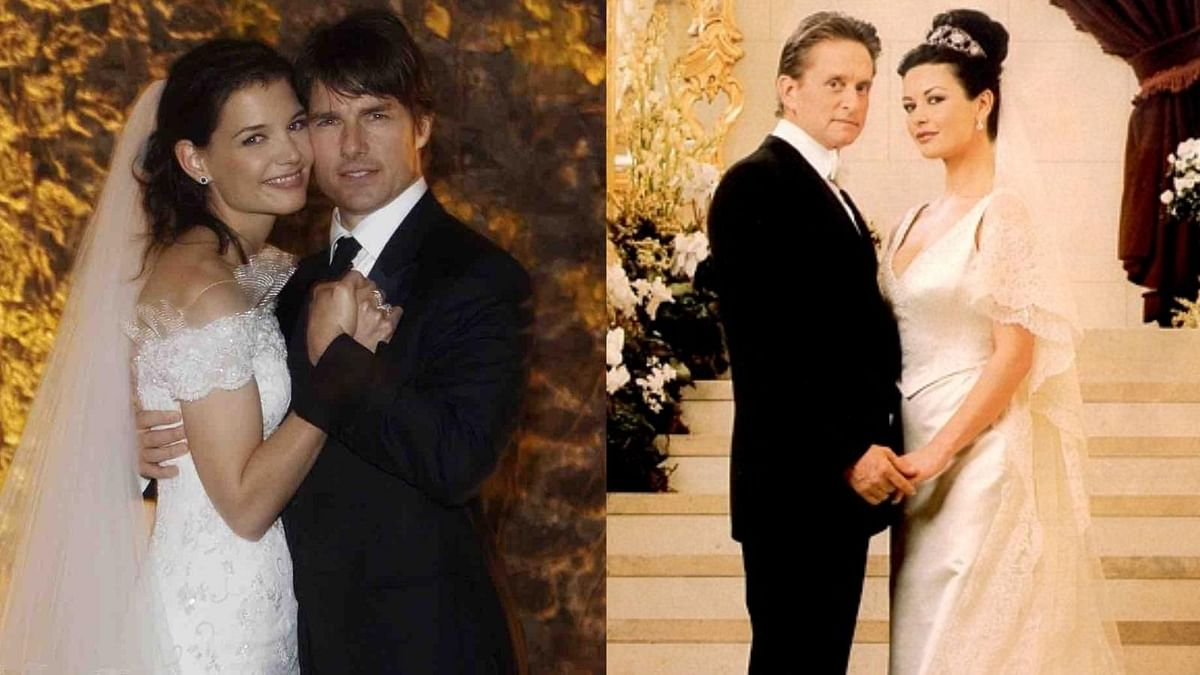"Two weddings and love stories to remember: Tom Cruise and Katie Holmes (Photo: Reuters) Michael Douglas and Catherine Zeta-Jones (Photo: <a href=""https://twitter.com/search?f=images&amp;vertical=default&amp;q=catherine%20zeta%20jones%20wedding&amp;src=typd"">Twitter/my@weddingapp</a>)"