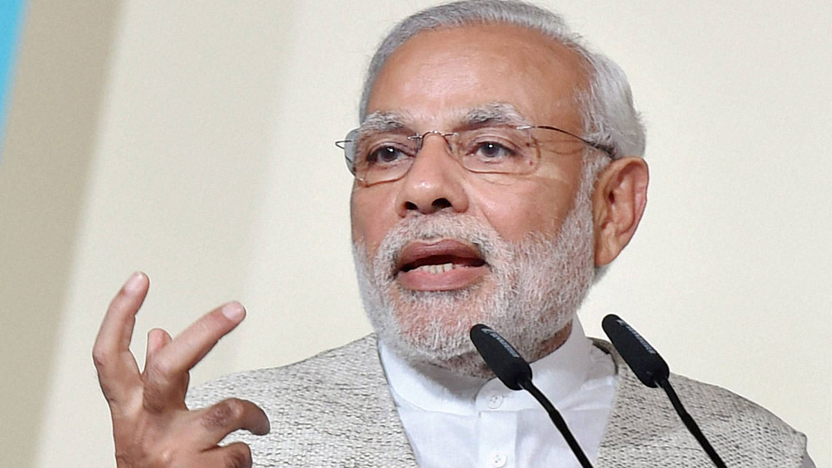 Prime Minister Narendra Modi speaks at the 37th Singapore Lecture in Singapore on Monday. (Photo: PTI)