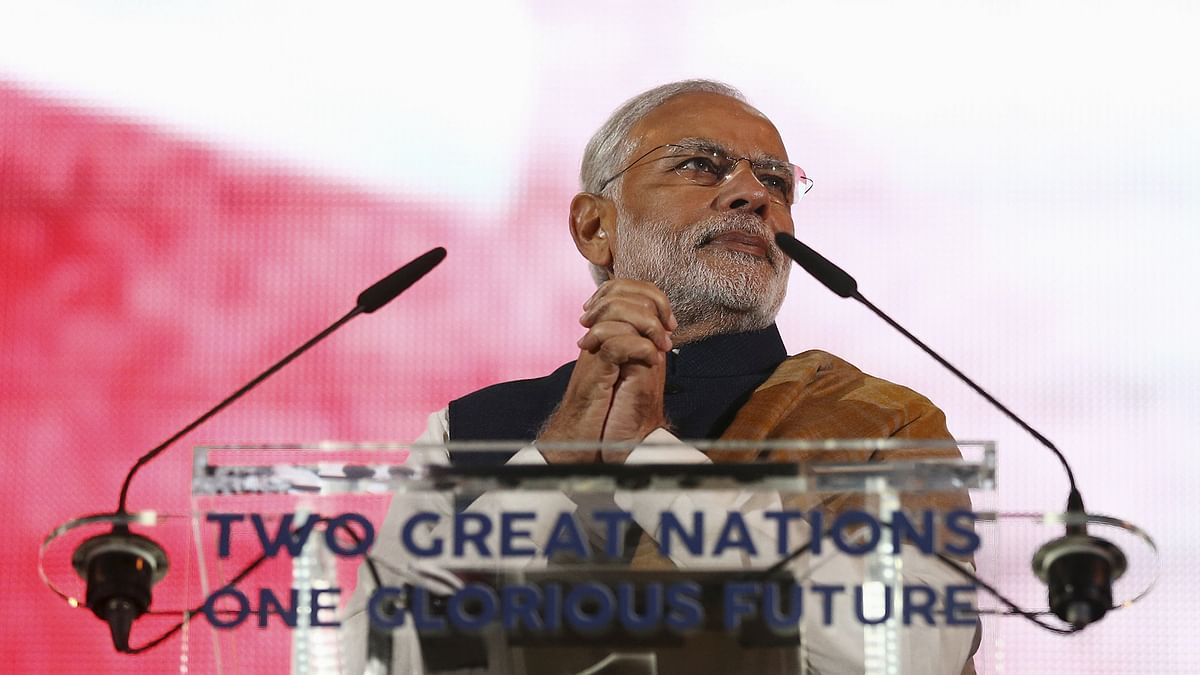 Prime Minister Narendra Modi addressing a welcome rally in his honour at the Wembley Stadium in London on Friday. (Photo: Reuters)