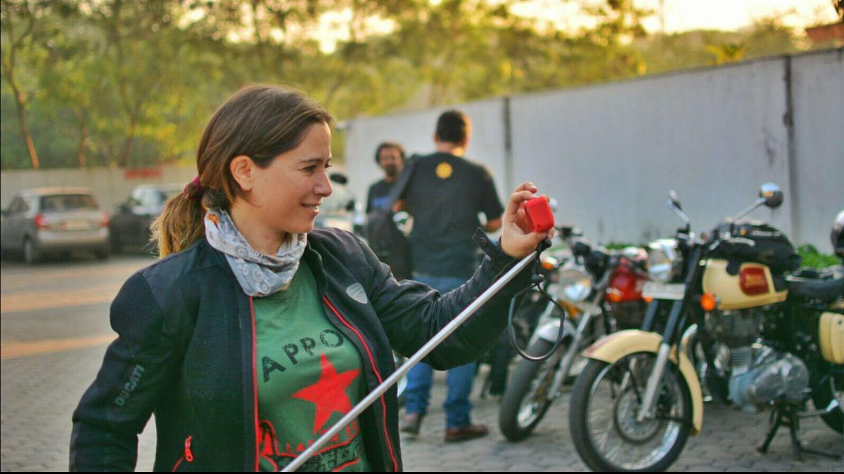 Spanish biker holding the selfie stick. (Photo: <b>The Quint</b>)