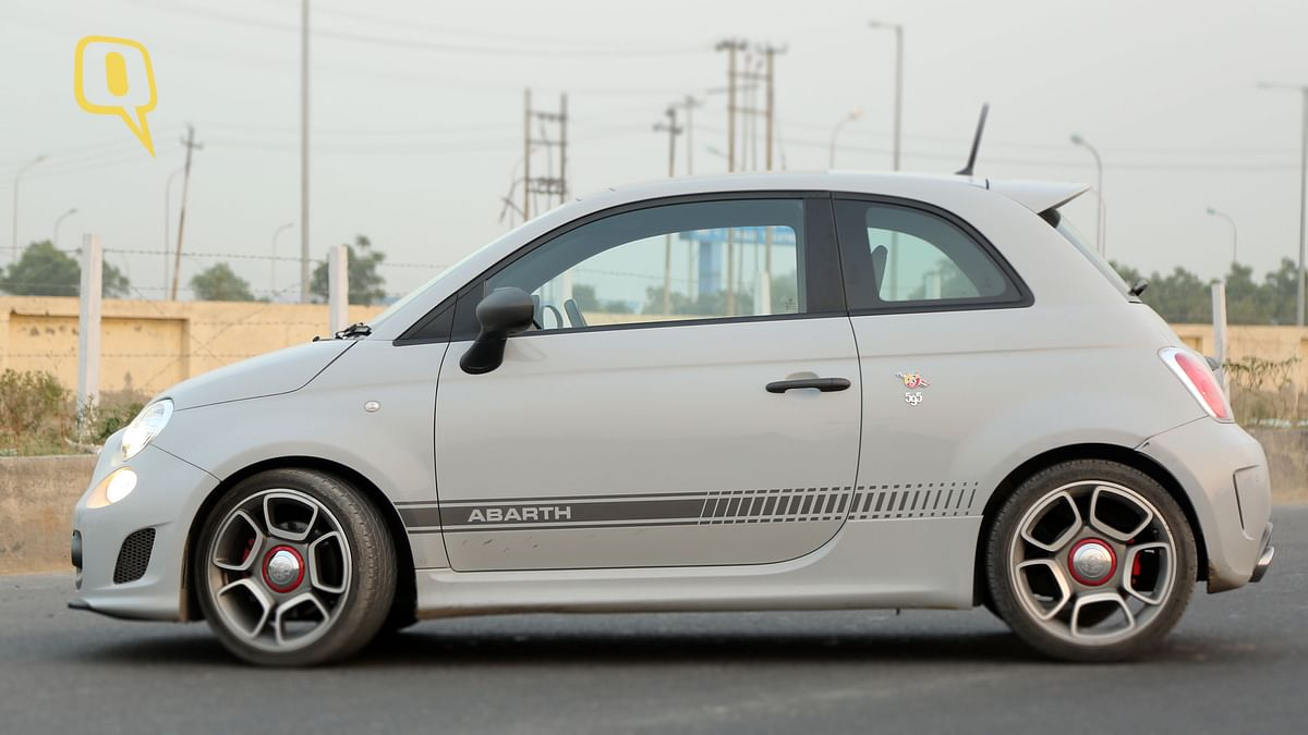 The Fiat Abarth 595 Competizione has a ground clearance of 105mm, enough for it to negotiate potholes in India. (Photo: <b>The Quint/Siddharth Safaya</b>)