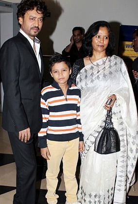 Irrfan Khan with son Ayaan and wife Sutapa Sikdar, who is a writer (Photo: Yogen Shah)