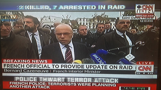 French official addresses the media after Saint Denis siege.(Screebgrab Courtesy: CNN-IBN)