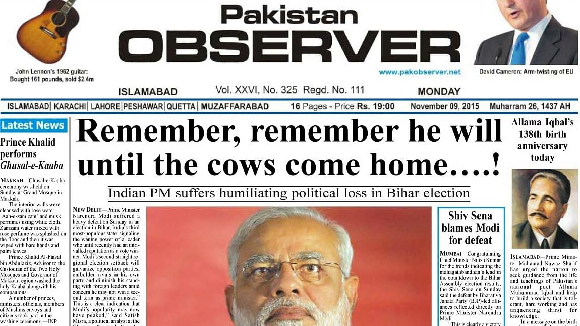 """The front page of the Pakistan Observer. (Screengrab Courtesy: <a href=""""http://epaper.pakobserver.net/201511/09/index.php"""">Pakistan Observer</a>)"""