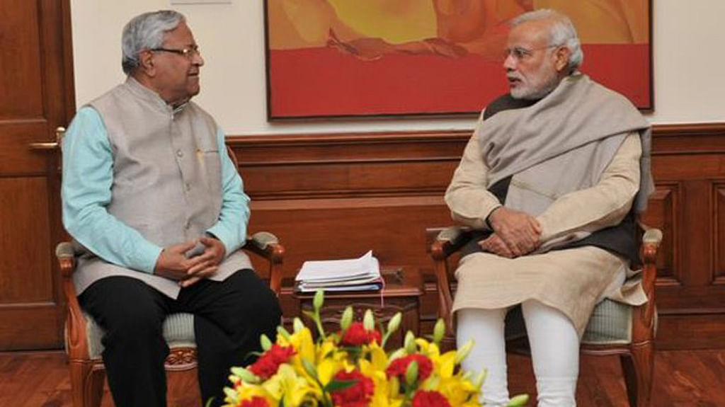 "PB Acharya with Prime Minister Narendra Modi. (Photo: <a href=""https://twitter.com/PIB_India"">PIB India's Twitter page</a>)"