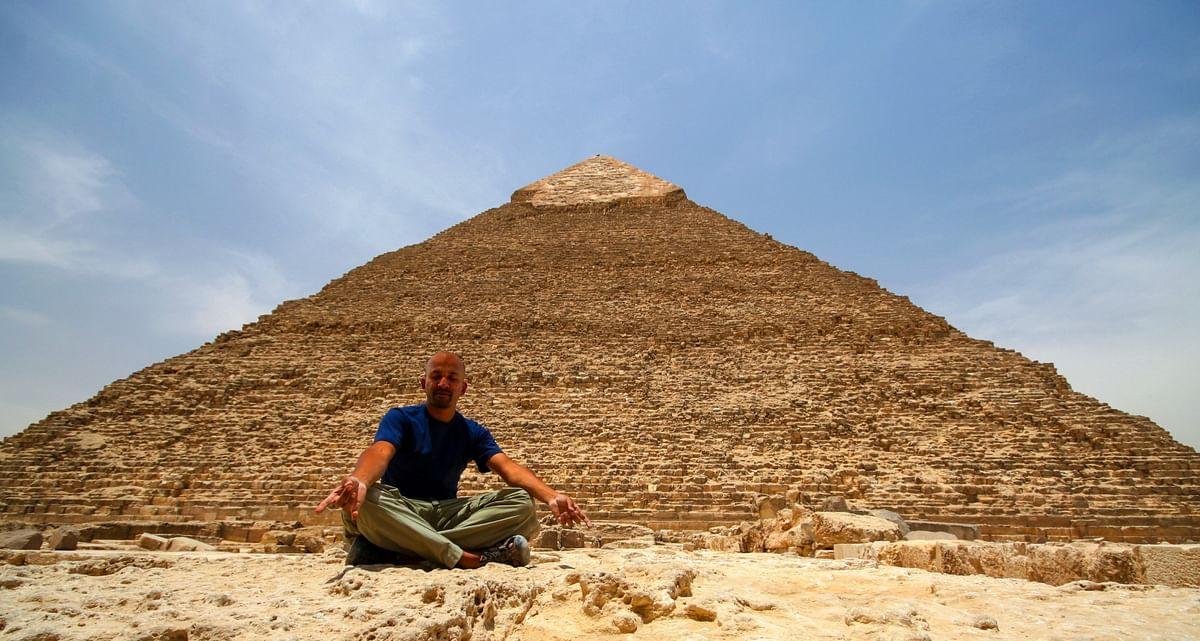 Meditating at Kafre's pyramid in Giza. (Photo Courtesy: Jay Kannaiyan)