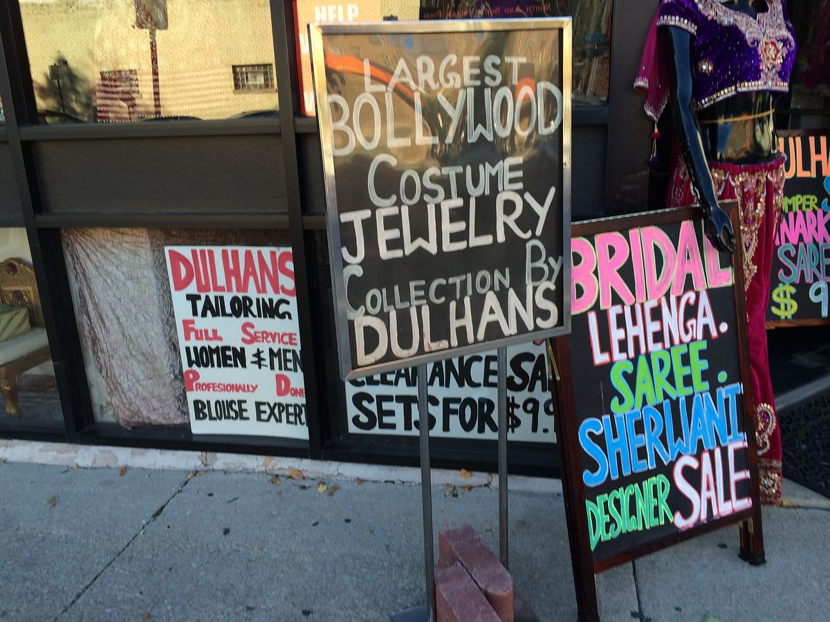 Salwar kameez and saree signboards in Devon Ave. (Photo: Sonia Chopra)
