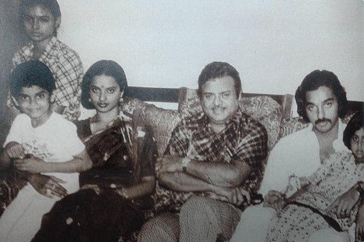 Gemini Ganesan seen here with Rekha and Kamal Haasan