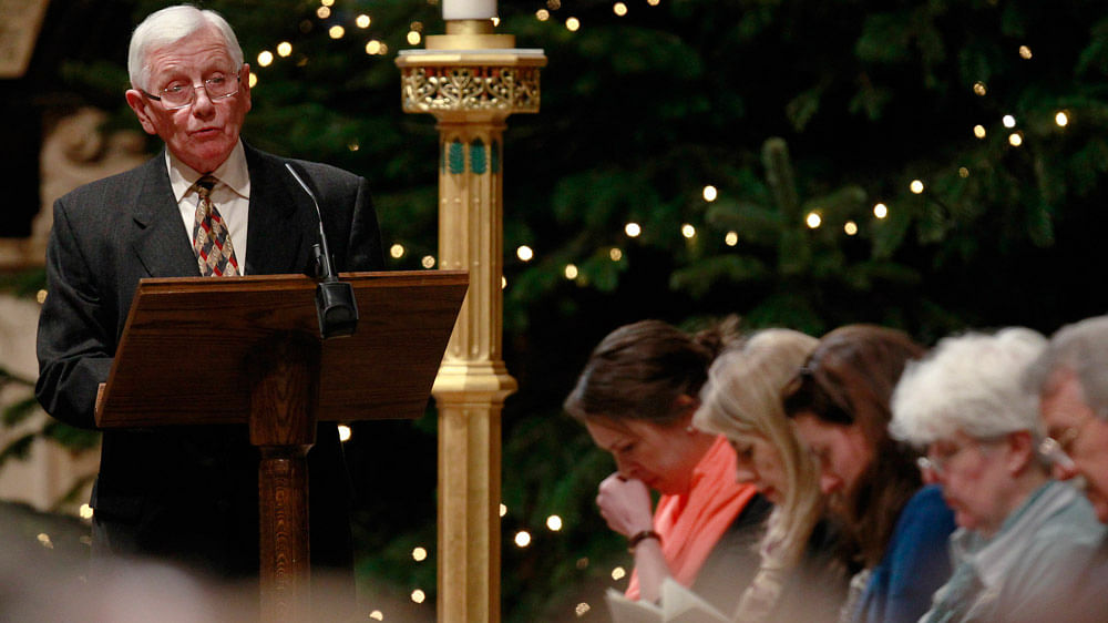 An unidentified man speaks during a service of remembrance to mark the 25th anniversary of the Lockerbie air disaster at Westminster Abbey in London, December 21, 2013. (Photo: Reuters)