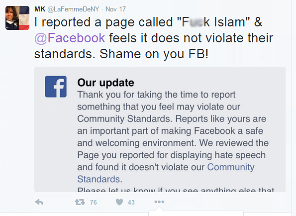 A woman reports an offensive page on Facebook and criticizes Facebook's response. (Photo: Twitter/@LaFemmeDeNY)